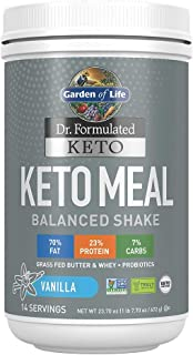 Garden of Life Dr. Formulated Keto Meal Balanced Shake - Vanilla Powder, 14 Servings, Truly Grass Fed Butter & Whey Protei...