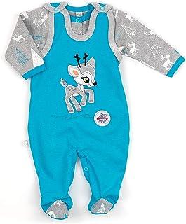 Koala Baby Koala Baby Baby Set Strampler  Shirt blau grau | Motiv: Reh | Babyset 2 Teile mit Rehkitz für Neugeborene & Kleinkinder | Größe: 3 Monate 62