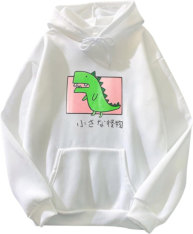 Teens Girls Cute Dinosaur Hoodie Sweatshirts Cute Animal Cartoon Tops Casual Long Sleeve Hoodies Pullover for Women