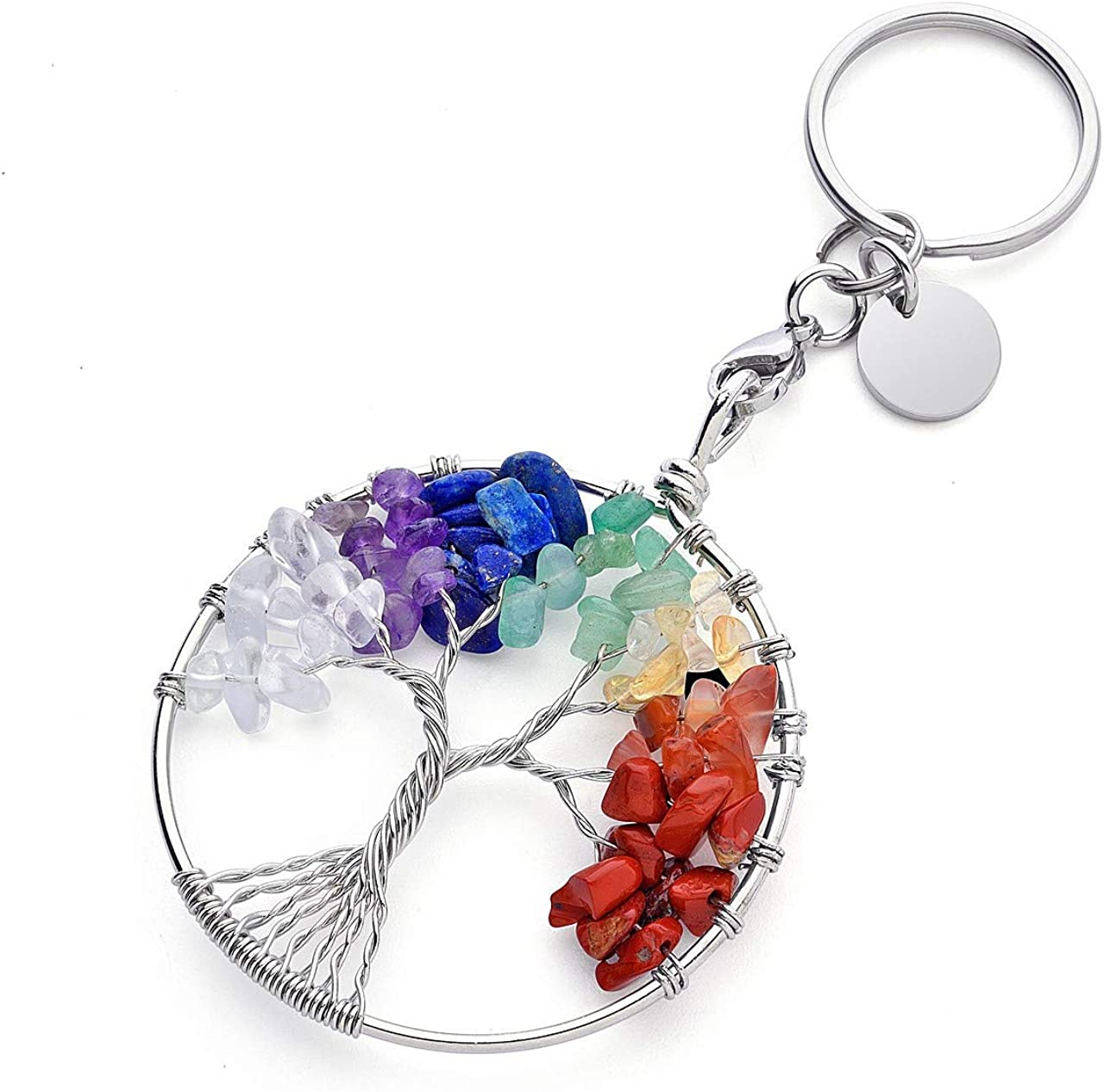 MANIFO 7 Chakra Keyring Healing Crystal Tree of Life Keychain Gemstone Key Chain Charm for Women