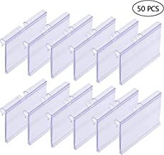 50 PCS Clear Plastic Label Holders for Wire Shelf Retail Price Label Merchandise Sign Display Holder(6cm x 4.2cm)