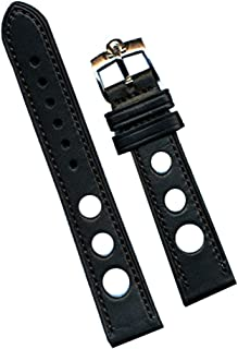 6 Color 18mm Genuine Leather Rally Race Strap Genuine Gold or Steel Omega Buckle