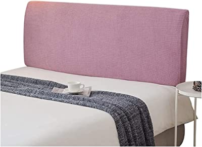 Headboard Slipcover Bed Headboard Cover Stretch Dustproof SlipCover Wood Leather Decorative Solid Color Protector for Bedroom Decor (Color : Pink, Size : 150-165CM)