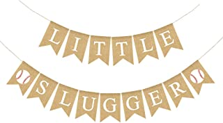 Jute Burlap Little Slugger Banner Boy Baseball Theme Baby Shower Party Decoration Supply