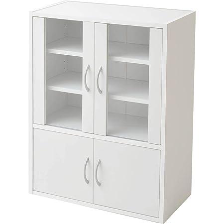 山善(YAMAZEN) 食器棚 ホワイト 幅60高さ80cm ロータイプ マグネット式 棚板可動 食器 キッチン 収納 CCB-8060(WH)