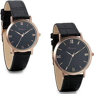 JewelryWe 2pcs Couple Watches Roman Numerals Quartz Watch Black Leather Band Wristwatches
