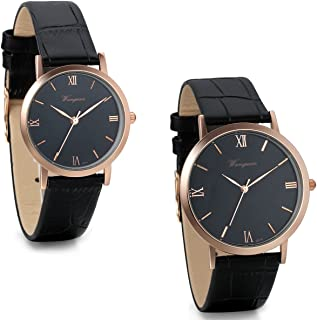 JewelryWe 2pcs Couple Watches Roman Numerals Quartz Watch Black Leather Band Wristwatches
