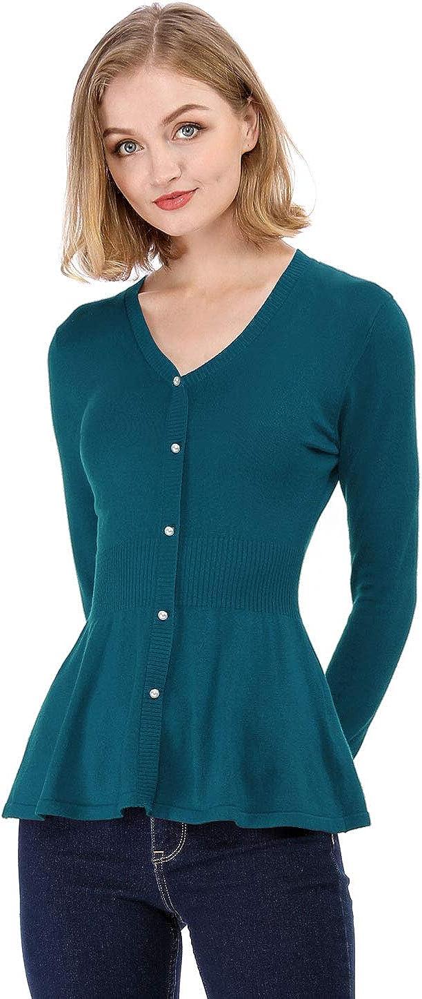 Allegra K Women's V Neck Long Sleeve Ribbed Pullover Knitted Peplum Top