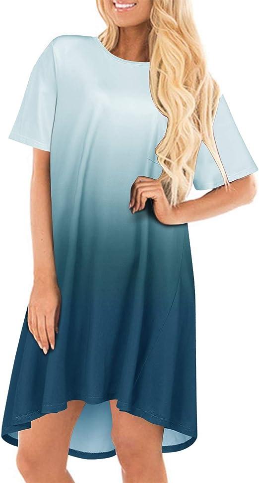 Cnfio Minikleid Damen Kleider Sommerkleider Tshirt Shirtkleider Einfarbig Blusekleider Casual Rundhals Knielang Mit Taschen Kleid Amazon De Bekleidung