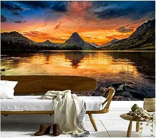Pbldb Custom 3D Murals,Mountains Lake Sunrises and Sunsets Nature Wallpapers,Living Room Sofa Tv Wall Children Bedroom -120X100Cm