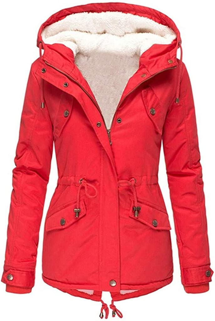 WUAI-Women Winter Warm Coats Plus Size Hooded Jackets Parka Puffer Quilted Thicken Fleece Lined Jackets Cotton Pea Coat