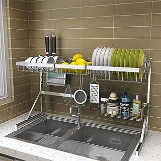 DJSMsnj Rangement de cuisine, égouttoir en acier inoxydable, support de comptoir, organisateur de vaisselle avec porte-ust...