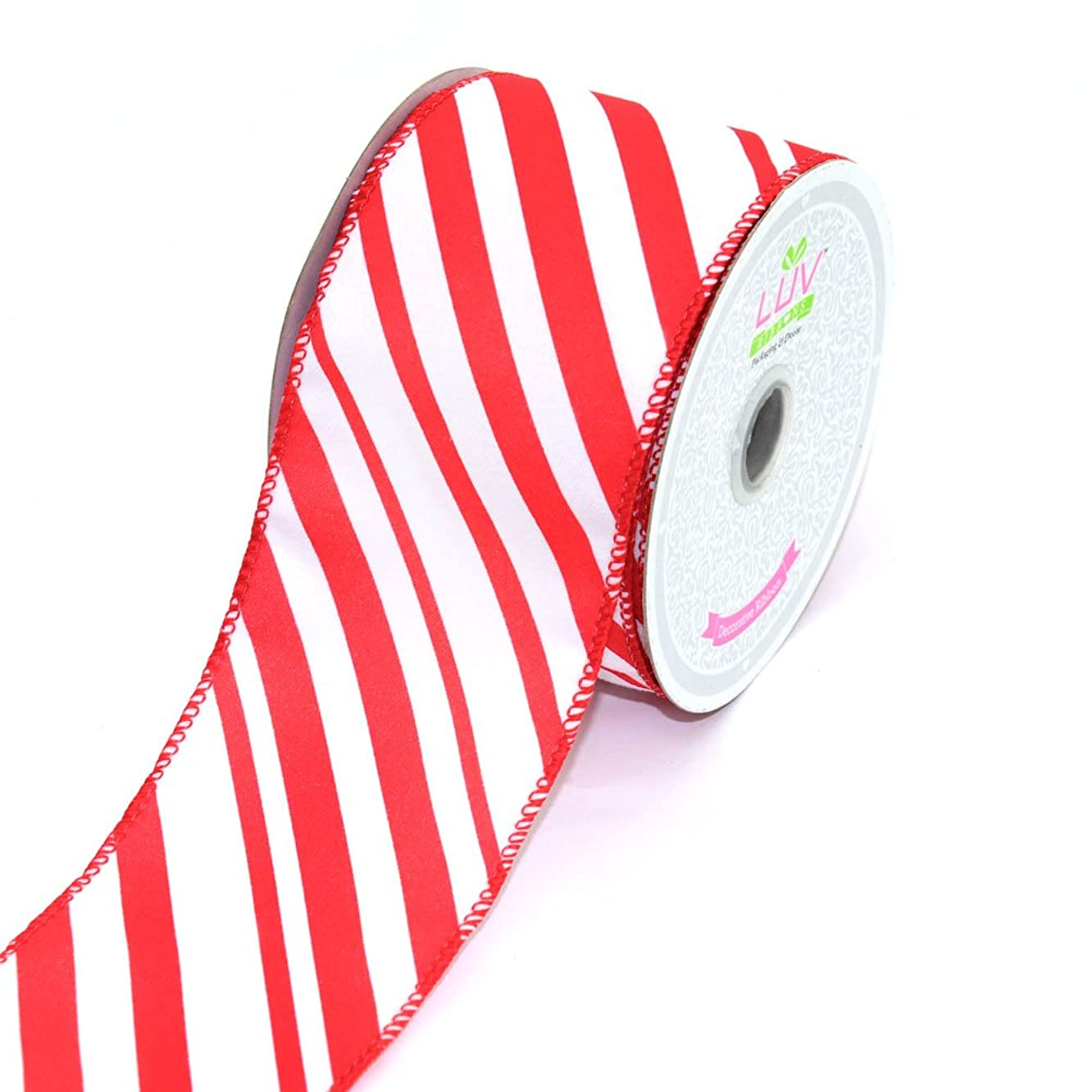 LUV RIBBONS by Creative Ideas 2-1/2-Inch Velvet Candy Stripes Ribbon, 10-Yard, White/Red
