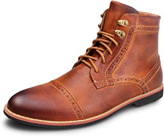 Kunsto Men's Leather Classic Brogue Boots Lace up Cap Toe