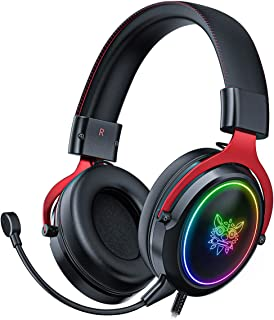 BINDEN Audífonos Gamer X10 Sonido Surround Headset Ergonómicos Auriculares para Gaming Entrada Jack 3.5mm Compatible con Playstation 4/Xbox One/Nintendo Switch/PC/Laptop/Smartphone y Tablets Audífonos con Micrófono Omni-direccional y Led RGB, Negro