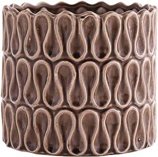 Little Green House Brown Ceramic Round Decorative Vase - XL