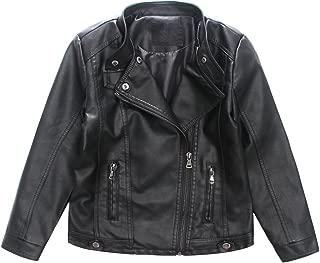 LJYH Boys Girls Faux Leather Jacket Kids Costume Motorcycle Coat Redwine Black