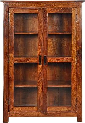 Furinno Mango Wood Multipurpose Wardrobe Storage Cabinet with 2 Door for Living Room Bedroom Wooden Bookshelf (Honey Finish)