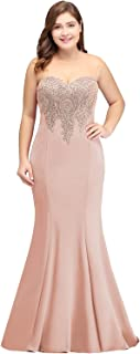 Women Lace Applique Sheer Neck Long Mermaid Prom Evening Gowns Formal