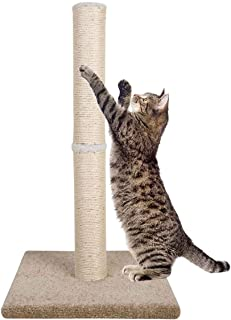 """Dimaka 29"""" Tall Cat Scratching Post for Big Cats, Natural Sisal Rope Post and Stable Heavy Carpet Base, Adult Cat Scratcher and Tree"""