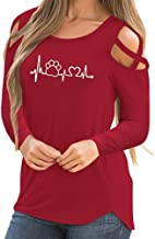 Wintialy Women Casual Long Sleeve Printed Strappy Cold Shoulder T-Shirt Tops Blouses