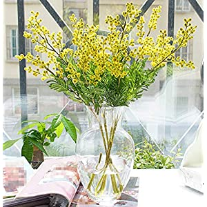 Skyseen 3Pcs Artificial Mimosa Flowers Acacia Beans with Palm Leaves Plant Centerpieces Home Decor (Yelllow)