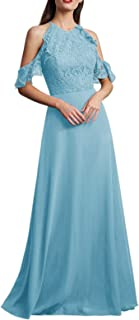 Jonlyc A Line Halter Bridesmaid Dress with Lace Long Formal Evening Gowns