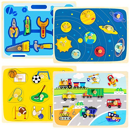 Conikus Wooden Toddler Peg Puzzles Set, Chunky Educational Puzzles Toys for Toddlers, (4 Pack Toddler Puzzles Set - Space& Tools Themed Learning Toys Gift for 2 3 4 Years Old Girls and Boys