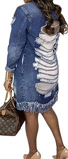 ملابس جينز للنساء من SOMTHRON بنمط ممزق جاكيت جينز ربيعي خريفي خارجي من قماش الدنيم