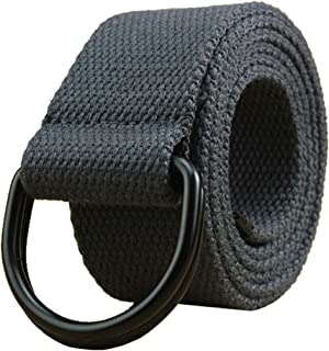 "Maikun Mens & Womens Canvas Belt with Black D-ring 1 1/2"" Wide Extra Long Solid Color"