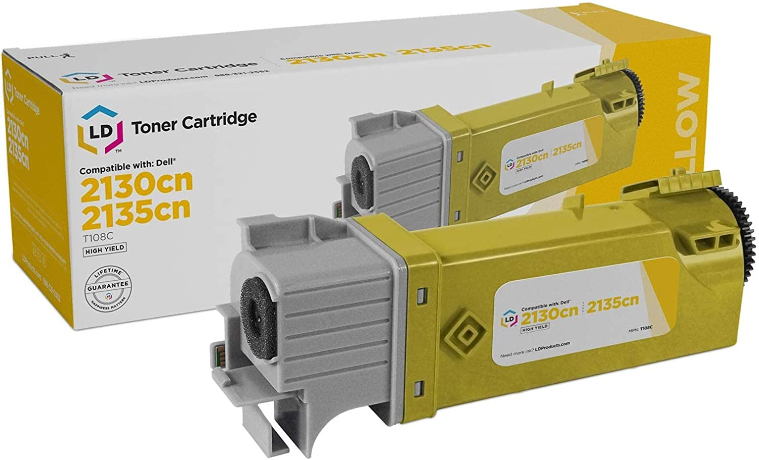LD Compatible Toner Cartridge Replacement for Dell 330-1438 T108C High Yield (Yellow)