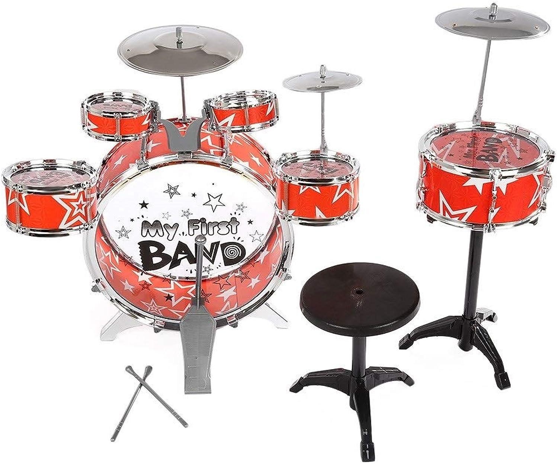 precio mas barato Juego de batería para Niños Instrumento musical Juguete con con con platillos Taburete Navidad Regalo de cumpleaños (Color  naranja, azul opcional) (Color   naranja)  marcas de moda