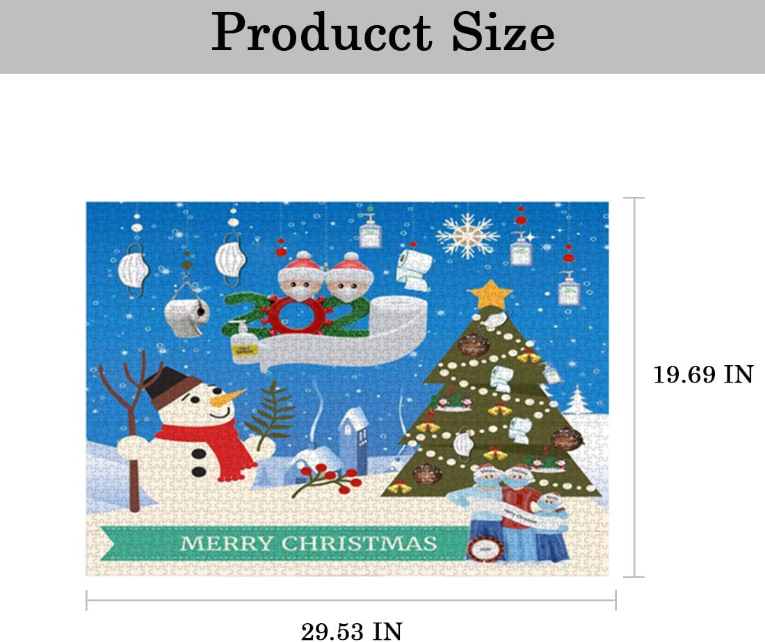 Snowman 1000 Piece Jigsaw Puzzle Christmas Santa Claus Jigsaw Puzzles Snow Scene Snowman Jigsaw for Adult and Kids Teens Reduced Pressure Toy Gift