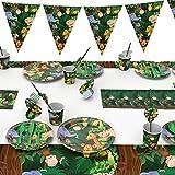 Jungle Animal Party Supplies festa di compleanno per bambini Piatti di carta Tazze Tovaglioli Tovaglia Banner Forniture Decorazioni per Bambini e Ragazze Giungla e Animali Decorazioni