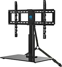 HUANUO Universal Tabletop TV Stand Holder for 32 to 60 Inch Flat Screen Television with 70 Degrees Swivel, 4 Height Adjustments, Anti-Tip Strap, Tempered Glass Base, VESA up to 600x400, Black