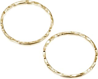 Stera Jewelry 14k Gold-Filled 20 mm Hand Hammered Hoops Rings or Loops Jewelry Findings for Your DIY Earrings Necklaces & Bracelets Creations, 4 Pcs