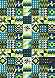 2021: ENE - DIC Agenda Semanal   Tamaño A5   1 Semana en 2 Páginas   Planificador Mensual Calendario Semana Vista Planner Organizador Anual   Diseño Geométrico