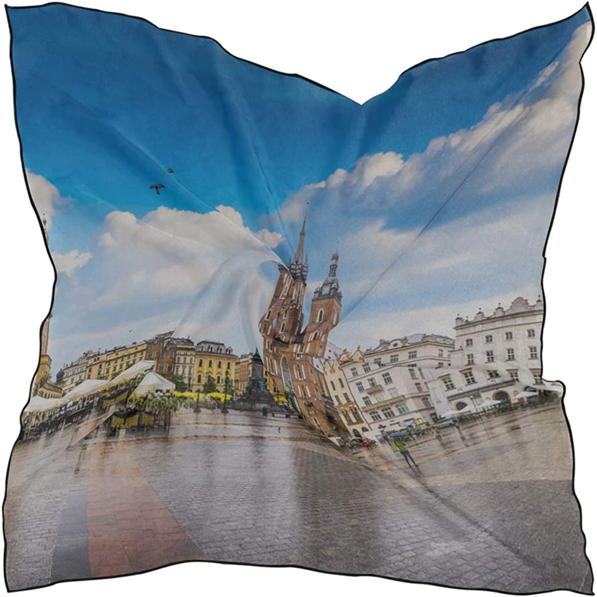 Soft Polyester Silk Hair Scarfs Fashion Print Charming Gothic Architecture Church Kerchief Scarves Womens Neckerchief Fashion Scarves For Women Multiple Ways Of Wearing Daily Decor