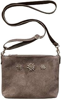 Schuhmacher Trachtentasche Dirndltasche kleine Umhängetasche Clutch Wild-Leder Taupe grau-braun