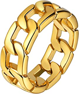 U7 Stainless Steel 7mm Wide Band Cuban Link Chain Ring, Size 7 to 12