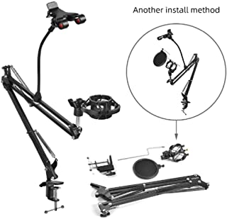 GB-Tech Upgraded Professional Adjustable Desktop Microphone Stand Boom Suspension Boom Scissor Arm Stand Holder with Shock Mount and Pop Filter (NB35 - S)