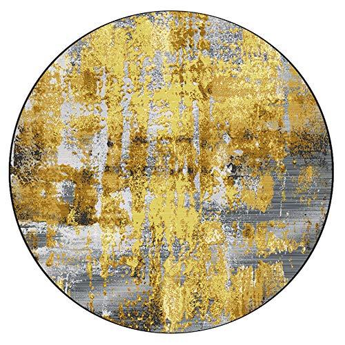 Alfombras CXIA área Redonda nórdica Moderna, Lámina de Oro de Lujo Ligera Dormitorio de Sala de Estar de Color Blanquecino, Decoración del hogar Colgante para Silla(Size:100cm)