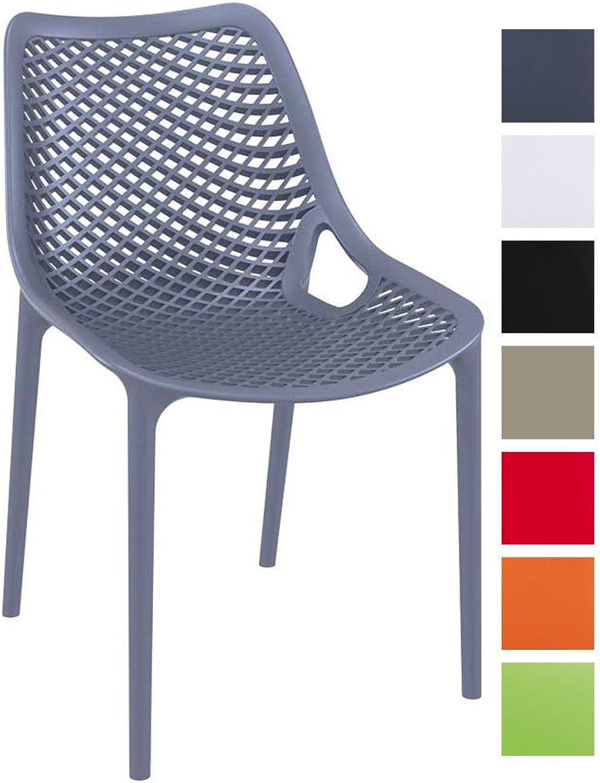 CLP XXL-Bistrostuhl AIR aus Kunststoff I Gartenstuhl mit Einer Sitzhhe von 44 cm I Outdoor-Stuhl mit Wabenmuster I erhltlich Dunkelgrau