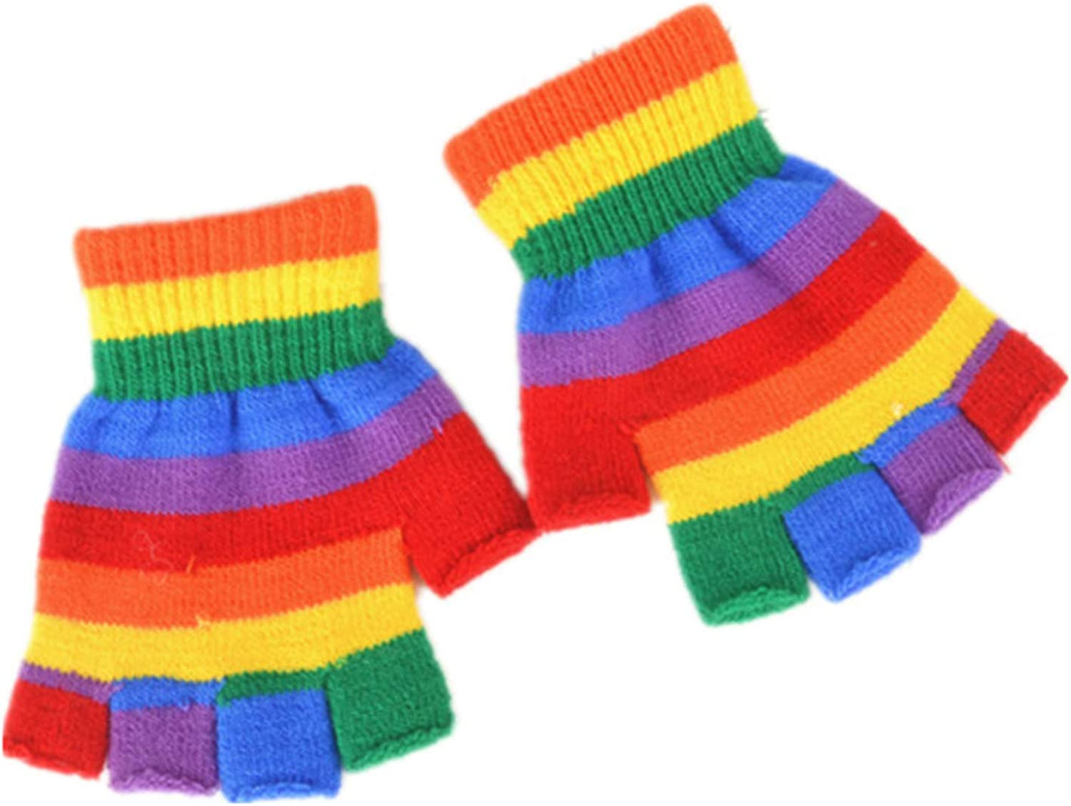 Kids Winter Gloves Rainbow Colorful Full Half Finger Glove Striped Stretchy Warm Knit Mittens