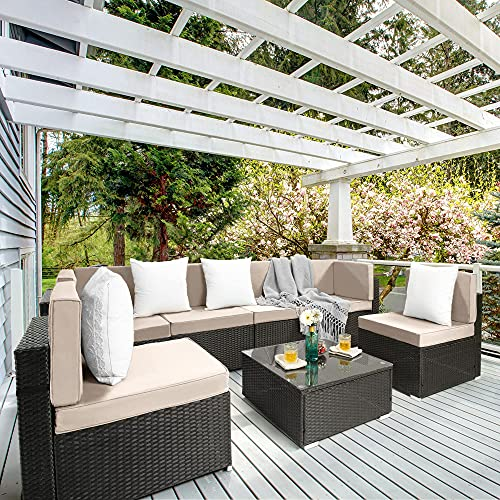 Pamapic 7 Pieces Outdoor Sectional, Wicker Patio Sectional...