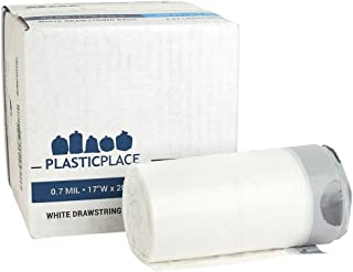 Plasticplace 4-6 Gallon White Drawstring Bags, 100% Prime Material, 17x20, 0.7 Mil, 200/Case
