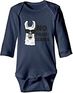 Trendy Baby Boys Girls Romper Bodysuit No Prob-Llama Infant Funny Jumpsuit Outfit Long Sleeves