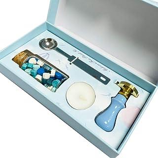 Tangger Coffret de Sceau à la Cire avec Cire Sceau Cuillère,Licorne FormeWax Seal Stamp Kit Personnalisé Mariage décorati...