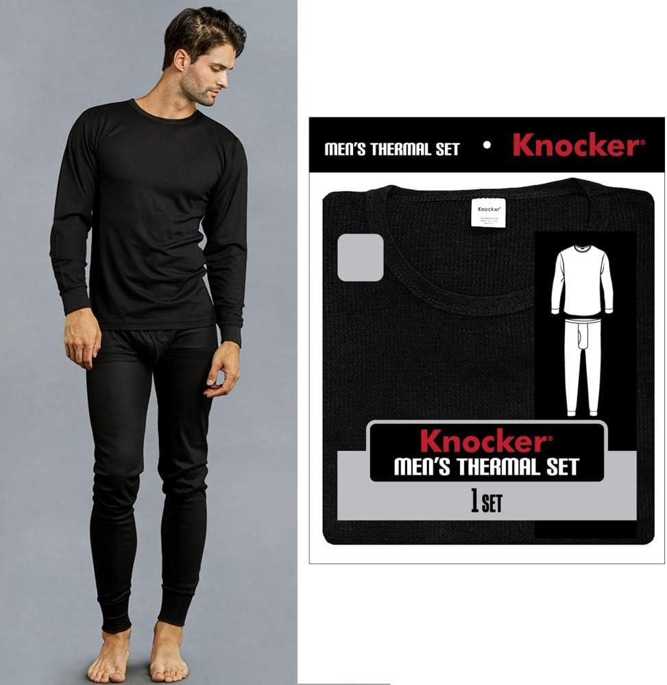Knocker Mens Thermal Underwear Set Long Sleeve Top Pajamas Pants Sleep Black 3XL