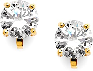 Cubic Zirconia Crystal Gold Wedding Clip On Stud Earrings for Women, 2 Carat 8mm Round-Cut CZ